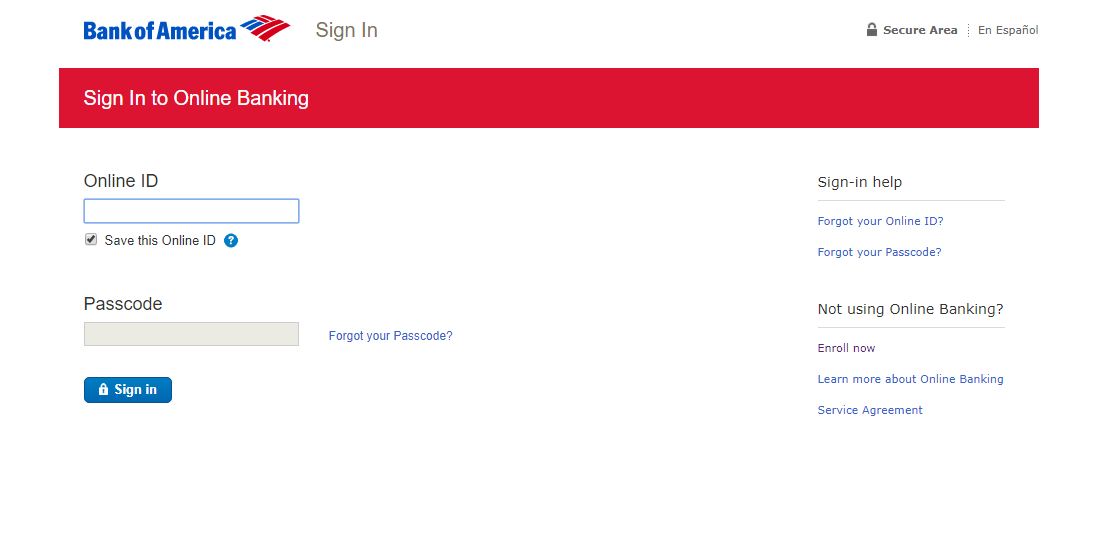 bank of america online banking sign in online id